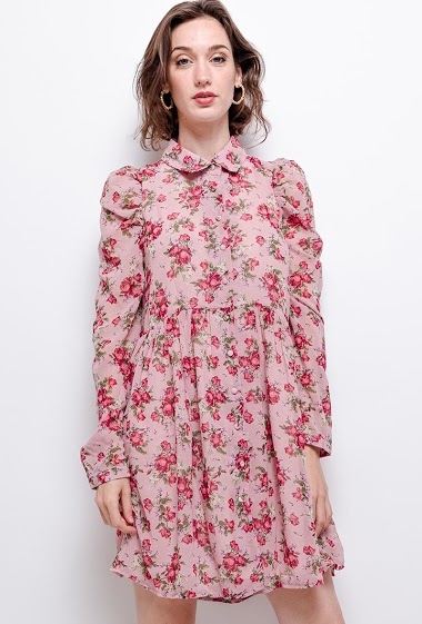 Shirt dress with flowers, puff sleeves. The model measures 177 cm