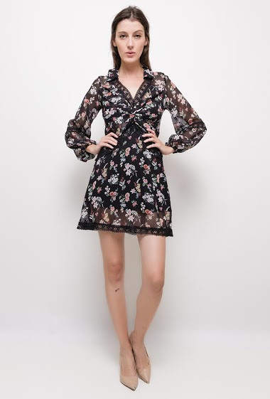 Floral print dress with lace