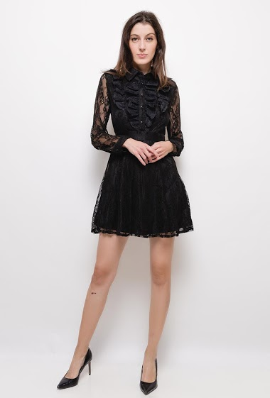 Lace dress with shirt collar