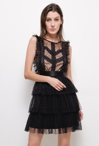 Plumetis dress with lace
