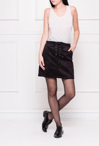 Suede skirt with lacing on the front