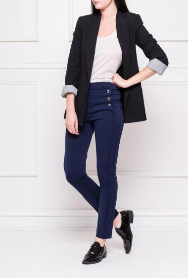 Stretch trousers with fancy buttons on the front