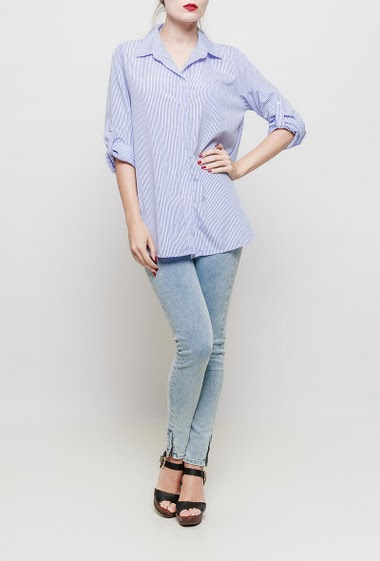 Shirt with stripes, roll-up sleeves, patch pocket, classic fit - TU corresponds to 38-40
