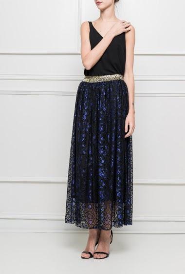 Long skirt with gold elastic waist