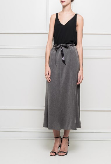 Long skirt with satin belt to knot, zip on the side T1=36,T2=38,T3=40,T4=42,T5=44,T6=46,T7=48,T8=50
