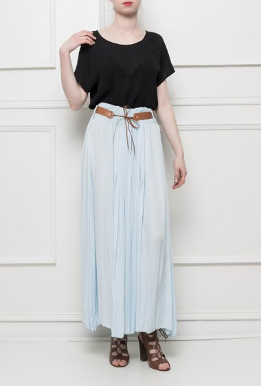 Cotton skirt, belt, elastic waist in jersey, fluid and very soft fabric