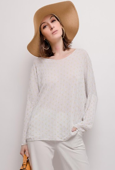 Fine sweater with gold pattern