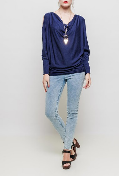 Cold shoulder top, removable necklace, draped collar, long sleeves, stretch fabric, textured touch - TU corresponds to 38-40
