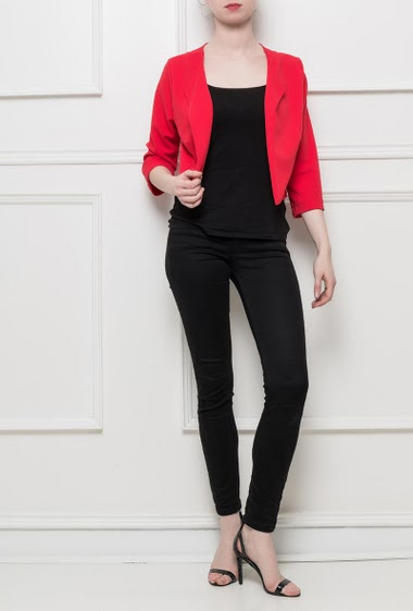 Open and crop jacket, stretch fabric, regular fit