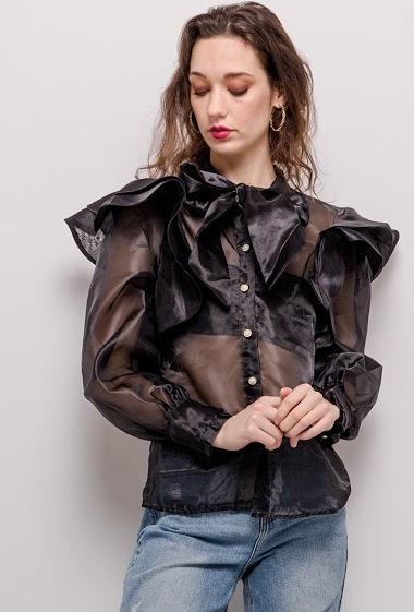 Chemise transparente avec nœud, volants. La mannequin mesure 177cm et porte du M. Longueur:63cm