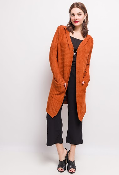Hooded cardigan. The model measures 175cm, one size corresponds to 10/12(UK) 38/40(FR). Length:89cm