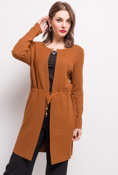 Cardigan with drawstrings. The model measures 175cm, one size corresponds to 10/12(UK) 38/40(FR). Length:94cm