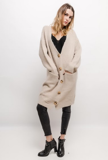 Long cardigan. The model measures 170cm, one size corresponds to 10/12(UK) 38/40(FR). Length:100cm