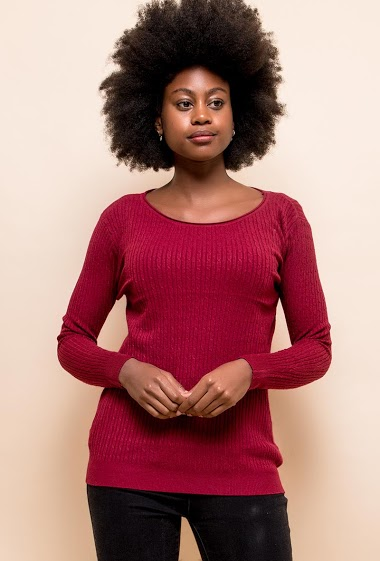 Twisted and ribbed knit sweater