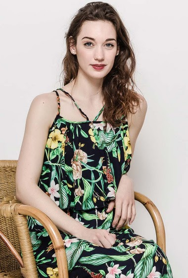Sleeveless dress with printed flowers, ruffles. The model measures 177cm and wears S/M. Length:140cm
