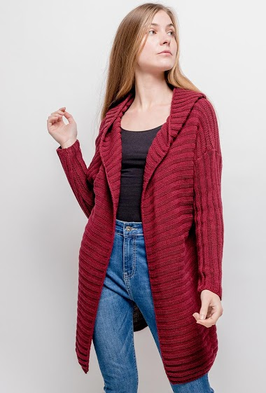 Hooded cardigan. The model measures 173cm, one size corresponds to 10/12(UK) 38/40(FR). Length:80cm