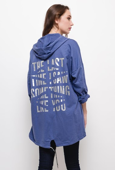 Cotton cardigan with hood,Cardigan with printed message on the back. The model measures 177cm, one size corresponds to 10/12(UK) 38/40(FR). Length:85cm