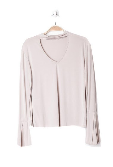 Top with long sleeves and split