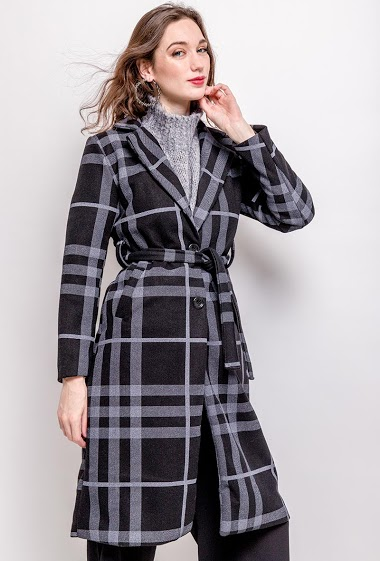 Belted coat. The model measures 177cm, one size corresponds to 10/12(UK) 38/40(FR). Length:107cm