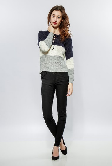 Knitted sweater in wool and mohair mix, colorful bands, lace-up collar, twisted front, casual fit. The model measures 177cm, one size corresponds to 38-40