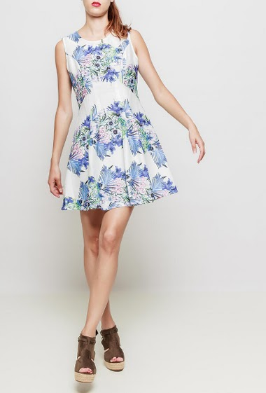 Sleeveless dress, printed flowers, flared fit, zip back closure