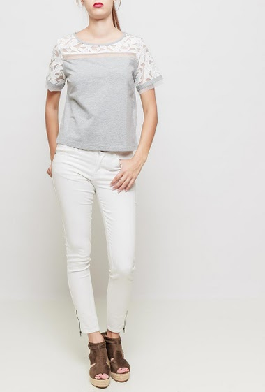 Cotton t-shirt with short sleeves, embroidered organza, regular fit