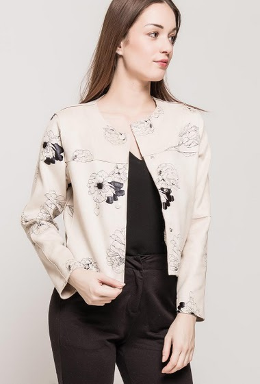 Collarless suede jacket, press stud closure, printed flowers, regular fit. The model measures 175cm and wears S