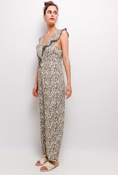 Jumpsuit with printed flowers, ruffles