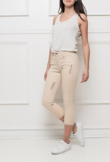 Pantacourt en coton, déchirures et oulets effilochés, poches, coupe slim