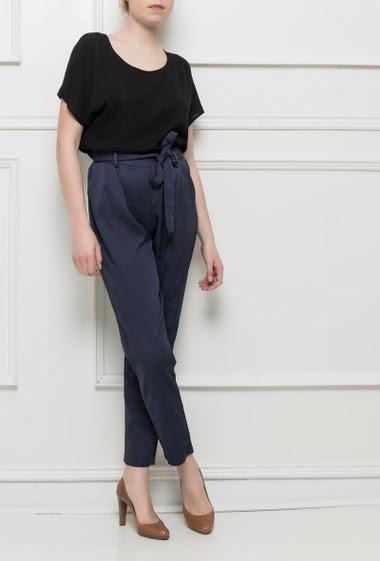 Pantalon fluide à taille élastique, ceinture à nouer