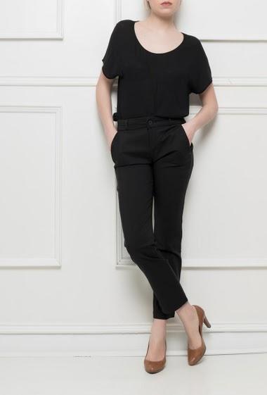Pantalon élégant stretch, coupe droite