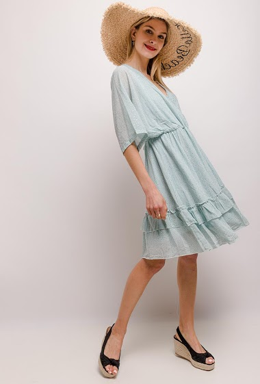 Spotted dress. The model measures 170cm and wears S. Length:97cm