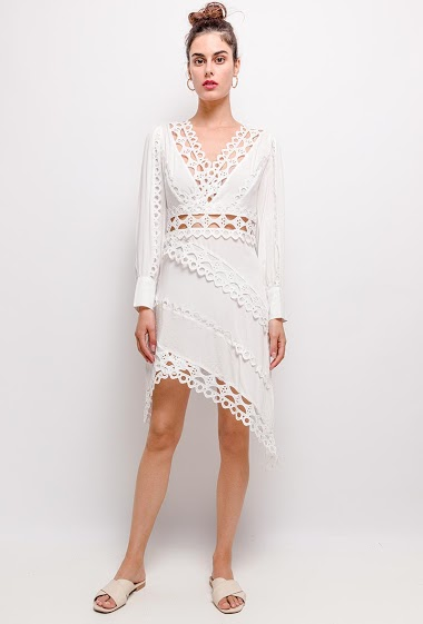 Embroiered and perforated dress