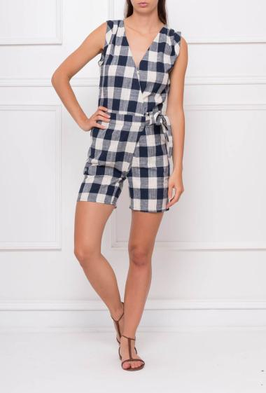 Wrap sleeveless playsuit with check pattern, knot on the side