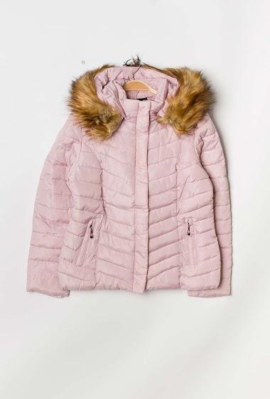 MACMAX abrigo acolchado de piel acolchada con capucha FASHION CENTER