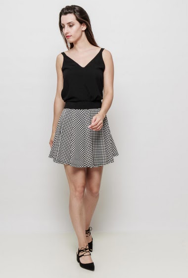 Bicolour checked skirt, elastic waist with a zip, flared fit