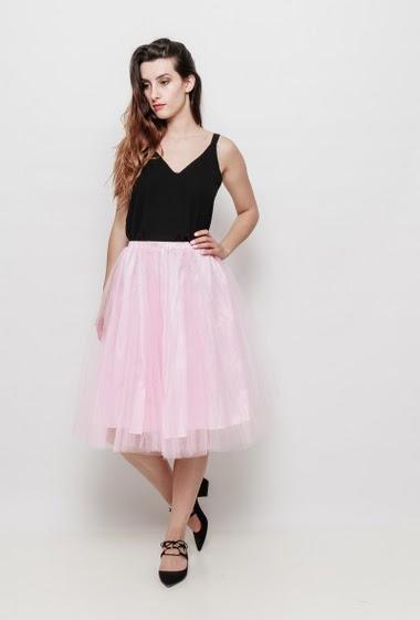 Midi skirt in tulle, elastic waist