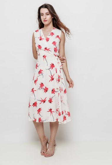 Long wrap sleeveless dress, printed flowers, belt, crepe fabric