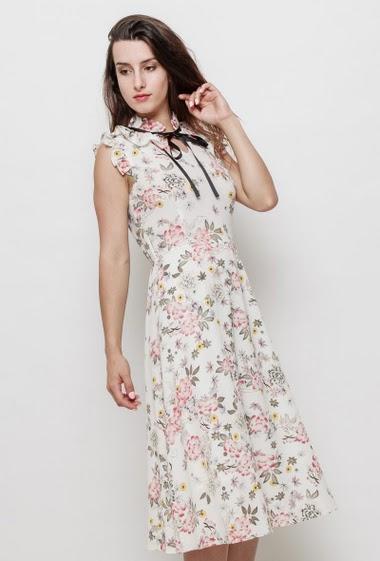 Crepe long dress, printed flowers, tie collar, lining