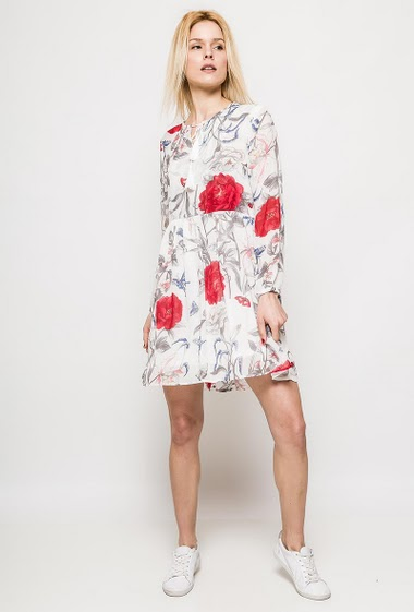 Dress with long sleeves, printed flowers. The model measures 177cm and wears M. Length:95cm