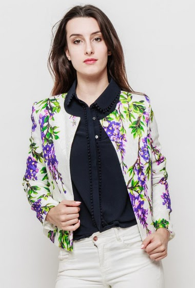 Jacket with printed flowers, padded shoulders