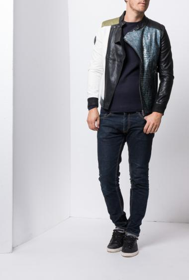 Biker jacket in imitation leather - Brand The power design