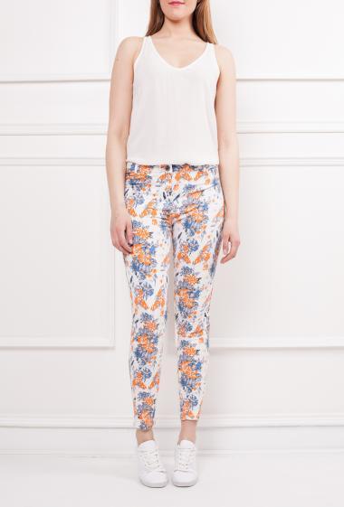 Pantacourt imprimé fleurs en coton, 5 poches