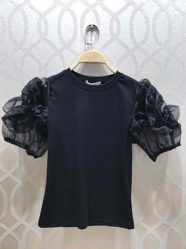 T-shirt with flower detailed sleeves