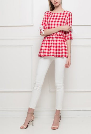 Checked blouse, ruffle border, batwing sleeves - TU corresponds to T36/38