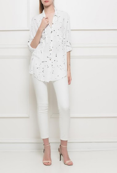 Shirt with paint splash, pockets, roll-up sleeves, loose fit, soft fabric - TU corresponds to T38/40