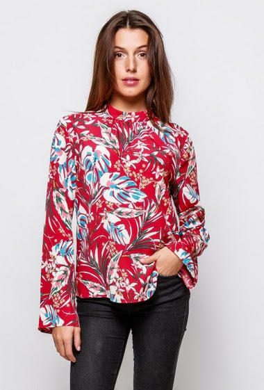 Blouse with printed flowers, funnel neck, long sleeves. The model measures 171cm and wears S