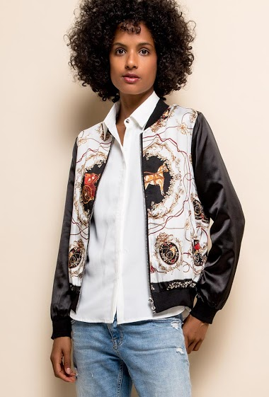 Bomber with scarf pattern