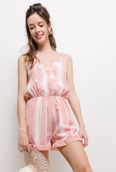 Wrap strappy playsuit, stripes. The model measures 178cm and wears S. Length:85cm