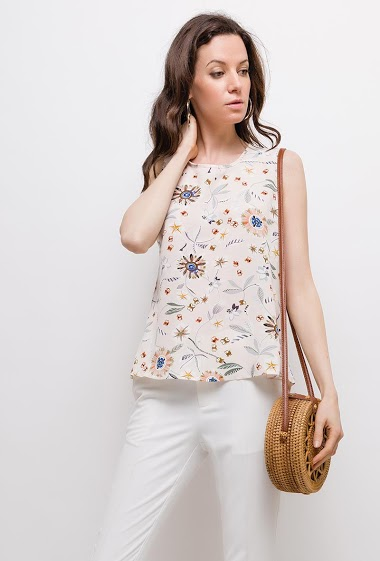Sleeveless top, V back, printed flowers, lace detail. The model measures 177cm and wears S. Length:60cm